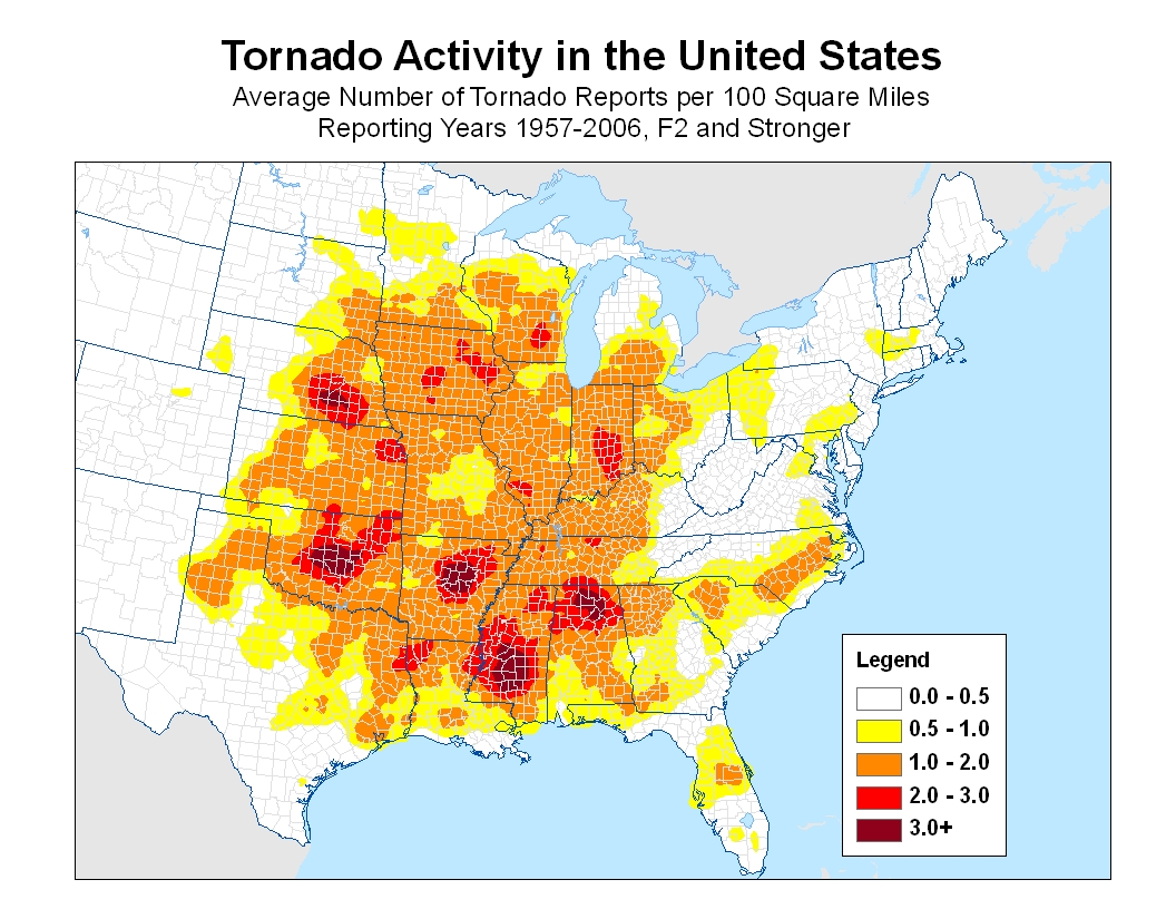 Deadly Tornadoes Have Skyrocketed In The US Why And What - Map of tornado frequency in us